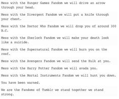 FANDOMS UNITE! Hunger Games/ Divergent/ Doctor Who/Supernatural/ Sherlock/avengers/ Harry potter/mortal instruments
