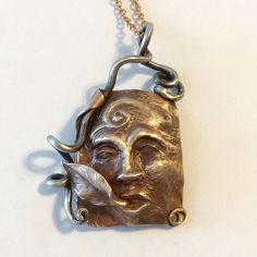 I made that goddess face into a pendant. Link in profile. #goddess #nature #wind #face #chasing #repousse #bronze #fanciful #anthropomorphic #figurative #spiral