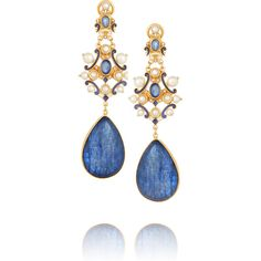 Percossi Papi Gold-plated kyanite, sapphire and seed pearl earrings ($1,605) ❤ liked on Polyvore featuring jewelry, earrings, brinco, joias, orecchini, blue, white baroque pearl earrings, indian jewelry, gold plated earrings und blue sapphire earrings