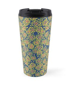 """Spring Blossom - ultramarine, yellow & orange, floral pattern"" Travel Mugs by clipsocallipso 