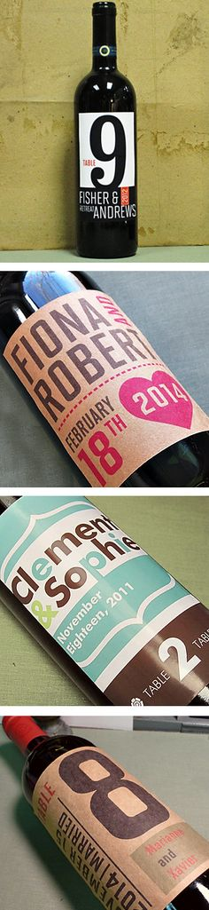 custom wine label for wedding favors and table numbers
