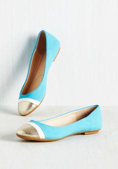 Twinkle Prose Flat - Blue, White, Gold, Solid, Colorblocking, Good, Work, Flat, Metallic, Minimal, Darling, Summer, Fall