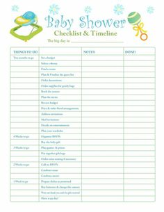 Baby Shower Checklist for Party Planning! Printable version, theme ...