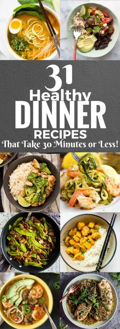 31 Healthy Dinner Recipes That Take 30 Minutes or Less #fatburning Healthy Dinner Recipes For Weight Loss, Healthy Diet Recipes, Healthy Drinks, Healthy Cooking, Healthy Snacks, Cooking Recipes, Dinner Healthy, Vegan Meals, Healthy 30 Minute Meals