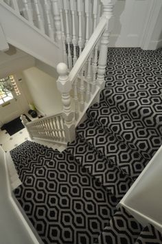 BowloOM RUNNER ON STAIRS AND FULLY CARPETED ON LANDING - PATTERNED CARPET