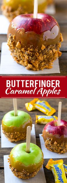 These 3 ingredient Butterfinger caramel apples are the perfect fall treat! AD @butterfinger