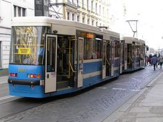 Charming boxy streetcar on cobblestone road in Wroclaw, Poland Rail Transport, Light Rail, Poland, Transportation, The Neighbourhood, To Go, Around The Worlds, Alicante Spain, Europe