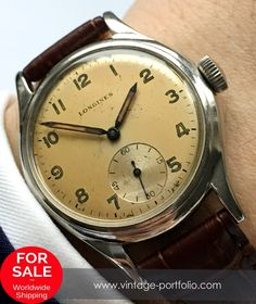 Handwinding Movement with small second, Stainless Steel Case (with screw down function), 34 mm diameter (w/o crown), 1950 Retro Watches, Old Watches, Antique Watches, Vintage Watches, Pocket Watches, Longines Watch Men, Skeleton Watches, Luxury Watches For Men, Watch Sale