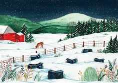 Marilyn Faucher was commissioned by Les miels d'Anicet to illustrate a custom postcard to thank their clients during the holiday season.