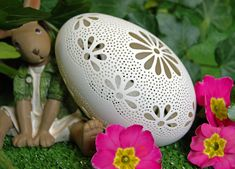 Eggshell of Polish goose - handmade sculpted #36 - transparent easter carved egg ornament decoration unique gift pysanky ażurowa pisanka by CEMBOLA on Etsy