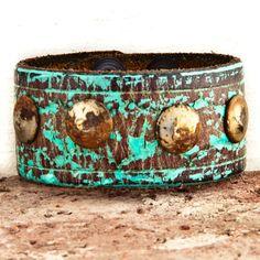 Leather Cuff Vintage Distressed Bracelet OOAK by rainwheel on Etsy, $50.00