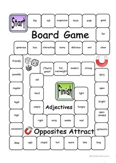 Board Game - Opposites Attract (Verbs) worksheet - Free ESL printable worksheets made by teachers Adjective Games, Adjective Worksheet, Grammar Games, Vocabulary Games, Vocabulary Strategies, English Games, English Activities, English Resources, Education English