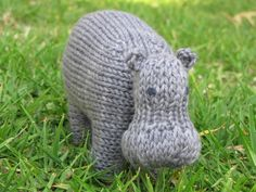 """Even my hubby said """"awwww"""""""" at this! Hippo Knitting Pattern by Linda Dawkins $5.00 on Ravelry at http://www.ravelry.com/patterns/library/hippo-knitting-pattern"""