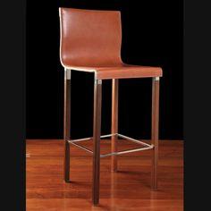 EMILE BAR STOOL  Materials: Saddle Leathe, IPE Wood Legs, Stainless Steel Dimensions: 19L x 17.5W x 43H  Leather Finish: Black, Havana Brown, London Tan, Sienna, Russet Leg Finish: IPE natural, Ebonized