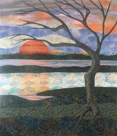 Sunset Reflections. A landscape quilt by Eileen Williams