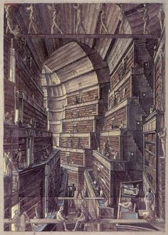 Fantastic Libraries | tygertale Jorge Luis Borges's The Library of Babel, illustrated by Érik Desmazières