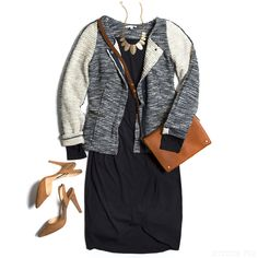 The jacket/cardigan is really interesting and fun! I like the sporty vibe with a more formal business look.