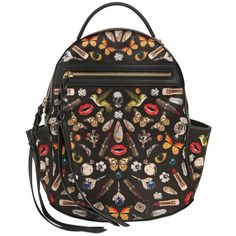 Alexander Mcqueen Women Small Obsession Printed Silk Backpack (€1.370) ❤ liked on Polyvore featuring bags, backpacks, multi, rucksack bag, chain shoulder bag, silk bag, day pack backpack and knapsack bag