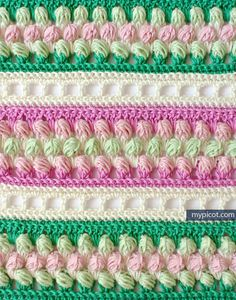 Multicolored Striped crochet stitch: Diagram + step by step instructions Free crochet patterns Picot Crochet, Crotchet Stitches, Crochet Stitches Patterns, Crochet Afghans, Crochet Chart, Crochet Motif, Crochet Designs, Knitting Stitches, Crochet Squares