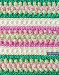 Multicolored Striped Crochet Stitch Tutorial - (mypicot)