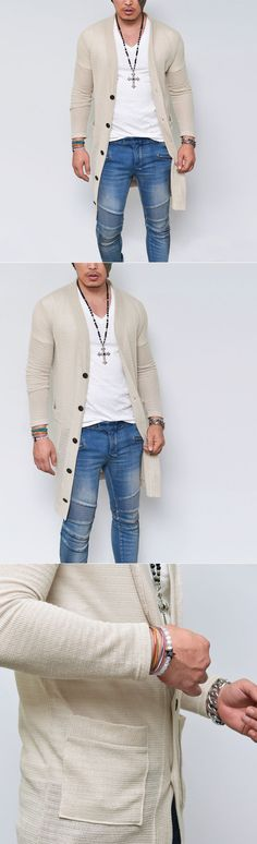 Outerwear :: See-through Knit Long Button Jacket-Cardigan 115 - Mens Fashion…