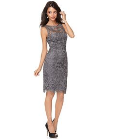Adrianna Papell Dress, Sleeveless Lace Sheath - Womens Dresses - Macy's--this would be a beautiful mother of the bride/groom dress Mob Dresses, Petite Dresses, Bridesmaid Dresses, Wedding Dresses, Formal Dresses, Bride Dresses, Gray Bridesmaids, Grey Dresses, Ladies Dresses