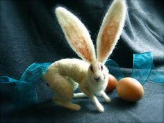 Ooooh....me likey! Ears like a Jack Rabbit!   Needle Felted Rabbit by SilverRabbitCo on Etsy