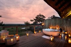 The Mhondoro Game Lodge in malaria free, 'Big Five' Welgevonden Game Reserve of South Africa's Limpopo Province. The drive from Johannesburg to the lodge takes about 3 and a half hours while direct access to the reserve's airstrip by private charter plane Game Lodge, Best Bathroom Designs, Bathroom Ideas, Private Games, Wellness Spa, Game Reserve, Luxury Accommodation, Rustic Outdoor, Coastal Homes