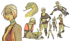 "mooncalfe: ""New drawings of my yuan-ti monk/rogue character Kexilath!!! """