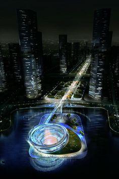 Image 13 of 19 from gallery of KSP Designs Floating 'Urban Helix' for Changsha. Courtesy of KSP Jürgen Engel Architekten Floating Architecture, Futuristic Architecture, Beautiful Architecture, Architecture Design, New Urbanism, Amazing Buildings, Library Design, Facade Design, Urban Planning