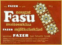 Fazerin Fasu-suklaa 1970-luvulta. Retro Candy, Old Commercials, Good Old Times, Old Ads, Finland, Childhood Memories, Retro Vintage, Nostalgia, Graphic Design