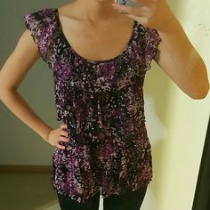 Ruffle Blouse Purple Black White Floral Perfect condition. Silky texture on the inside. Polyster and nylon Apt. 9 Tops Blouses