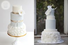 wafer paper flowers wedding cakes blue by Cove Cake Design left and Hey There Cupcake right via The Cake Blog