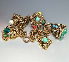 Heavy Gold Etruscan Fob Charm Bracelet Glass Chunky Filigree Vintage Jewelry