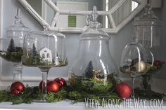 Apothecary village - fill glass jars with little Christmasy scenes!--- cheese board and cloche...watch out!