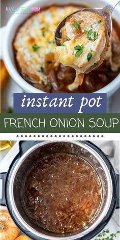 If you love French Onion Soup at steak house restaurants, you must make this French Onion Soup recipe. There is nothing better than this Instant Pot French Onion Soup! It is full of earthy, nutty flavors, and perfectly caramelized onions. This French Onio Onion Soup Recipes, Easy Soup Recipes, Instapot Soup Recipes, Best Instant Pot Recipe, Instant Pot Dinner Recipes, Vegetarian Recipes Instant Pot, Instant Pot Pressure Cooker, Pressure Cooker Recipes, French Onion Soup Recipe Pressure Cooker