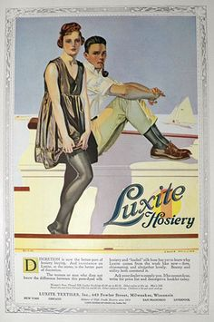 "1918 WWI Era Luxite Silk Hosiery Ad Sailboat Woman in""Beachwear"" of The Day Vintage Ads, Vintage Posters, Vintage Photos, Vintage Stockings, Nylon Stockings, Nylons, Vintage Outfits, Vintage Clothing, Retro Lingerie"
