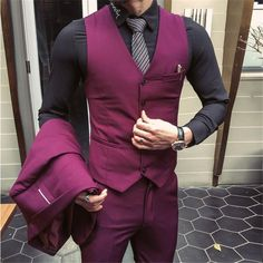 2018 New Men 3 Pieces Business Casual Wedding Groom Tuxedo Party Slim Fit Suits