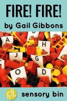 Fire! Fire! by Gail Gibbons is the theme for this sensory bin! We read and explore the story using the literacy and math task cards tucked in the bin. It's perfect for Fire Safety month in October and all year long. Task cards include mentor sentence from the book, story vocabulary, sight words, number bonds, and more! #gailgibbons #firesafety