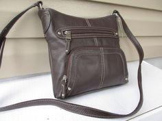 Tignanello cross body shoulder bag Organizer Brown Pebbled leather #Tignanello #ShoulderBag