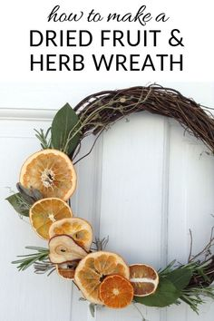 Here's how to quickly make a dried fruit and herb wreath, for a hint of that colonial Williamsburg charm. how to make a dried fruit and herb wreath Bohemian Christmas, Natural Christmas, Christmas Wreaths, Christmas Crafts, Christmas Decorations, Autumn Wreaths, Xmas, Fruit Crafts, Fruit Decorations