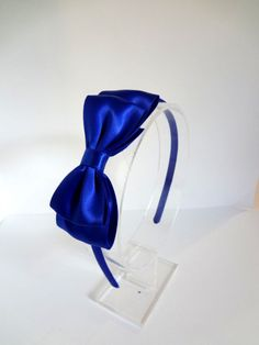 Royal Blue Hair Bow Headband for Snow White Birthday.