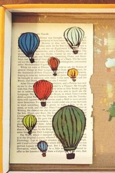 paint on book pages; love the hot air balloons!