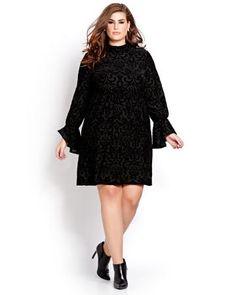 L&L Long Sleeve Burnout Velour Dress