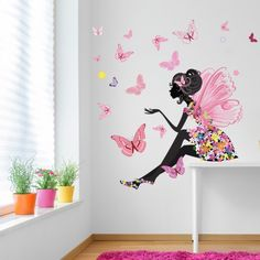 Wall Decor for Girls Room Inspirational Flower Fairy Wall Sticker Scene butterfly Wall Decal Girls Room Nursery Decor Butterfly Bedroom, Butterfly Wall Decals, Wall Painting Decor, Wall Art, Mural Wall, Diy Wall, Framed Wall, Girl Bedroom Walls, Bedroom Ideas