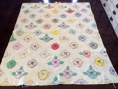 Vintage Handmade Cutter Quilt, Flower Pattern, Multicolored with Light Yellow Edging, White Backing, Blanket/Throw, Repurpose by eddysmercantile on Etsy