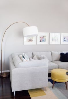 Loving Kailee Wright's space with our Jonathan Louis sectional and footstools!