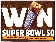 SNICKERS® Super Bowl Sweeps & IWG WIN a $75 NFLShop Gift Card,SNICKERS Bar or 2 Tickets to the SuperBowl Enter DAILY-Ends 2/27