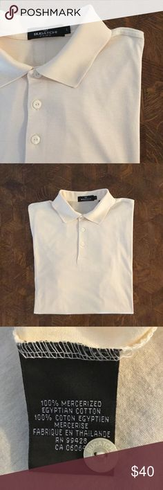 NWOT Bugatchi soft cream polo Classic Bugatchi 100% Mercerized Egyptian Cotton. This process softens, strengthens, and adds a sheen to cotton. This shirt is beautiful. Size L runs generous, oversize cut- more pictures upon request. Bugatchi Shirts Polos