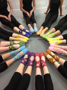 rainbow of ballet shoes. Margot Fonteyn use to give me her shoes, all different colors... this reminds me of her.